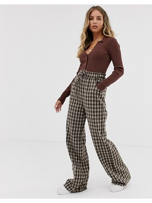 Emory Park wide leg pants in check-brown