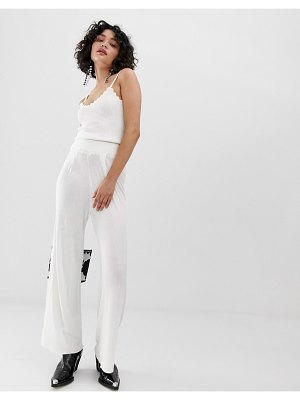 Emory Park wide leg pants with ruched waistband-white