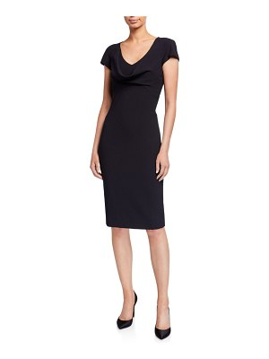 Emporio Armani Cap-Sleeve Drape-Front Cady Cocktail Dress