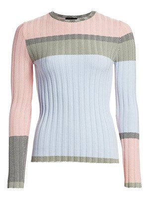Emporio Armani colorblocked chevron jacquard sweater