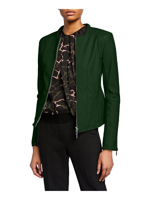 Emporio Armani Leather Square-Neck Zip-Front Jacket