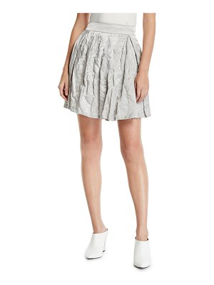 Emporio Armani Pleated Crinkled-Cotton Skirt