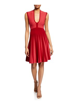 Emporio Armani Pleated Knit Jacquard Cocktail Dress