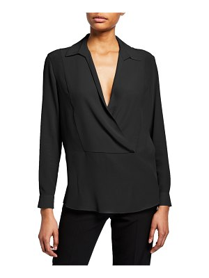 Emporio Armani Silk Pique Collared Blouse