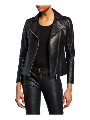 Emporio Armani Zip-Front Knit-Trim Leather Moto Jacket