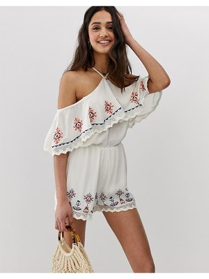 En Crème off shoulder romper with ruffle and embroidered detail-white