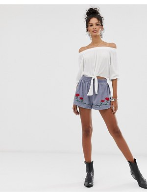 En Crème shorts with floral embroidery-blue