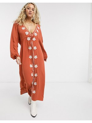En Crème midi dress with plunge front and embroidered detail