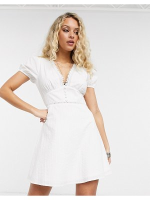 En Crème mini tea dress with ladder inserts and tie sleeves-white