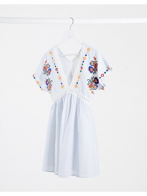 En Crème smock dress with ladder inserts and floral embroidery-blue