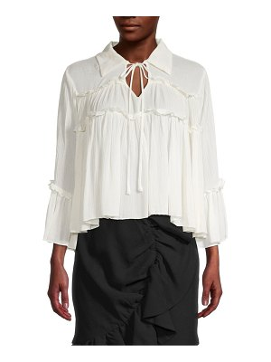 endless rose Plissé Ruffle Flare Blouse