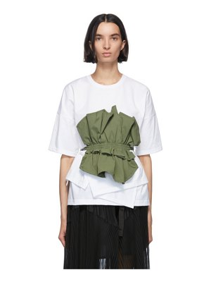 Enfold khaki and white cut layered t-shirt