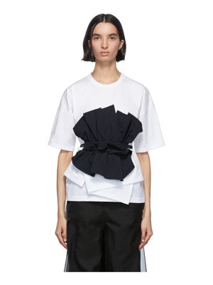 Enfold navy and white cut layered t-shirt