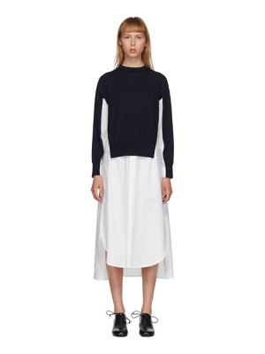 Enfold white and navy wool knit layered dress