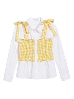 ENGLISH FACTORY gingham smocked button-up shirt