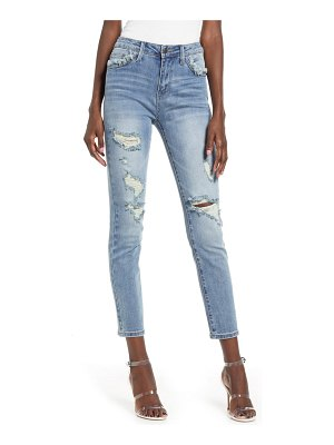 ENGLISH FACTORY high waist ripped ankle skinny jeans