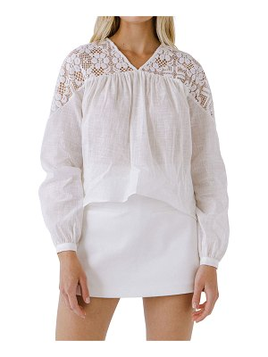 ENGLISH FACTORY Long-Sleeve Blouse w/ Floral Lace
