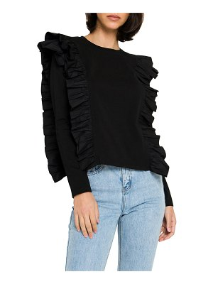 ENGLISH FACTORY Poplin Ruffle-Trim Long-Sleeve T-Shirt
