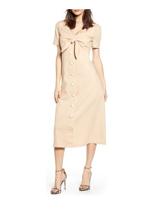 ENGLISH FACTORY tie front midi dress