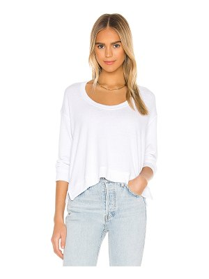 Enza Costa boucle cropped horseshoe neck long sleeve top