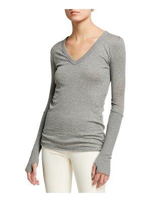 Enza Costa Cashmere-Cotton V-Neck Long-Sleeve Top