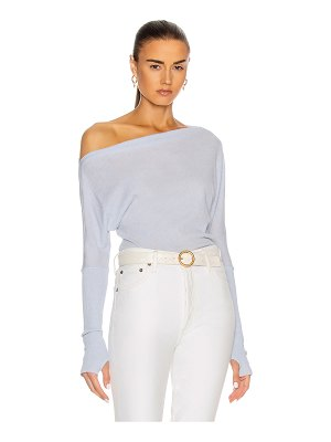 Enza Costa cashmere cuffed off shoulder long sleeve top