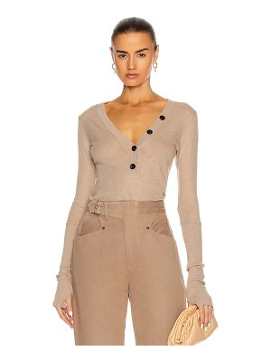 Enza Costa cashmere long sleeve cuffed henley top