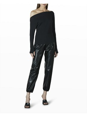 Enza Costa Cropped Vegan Leather Joggers