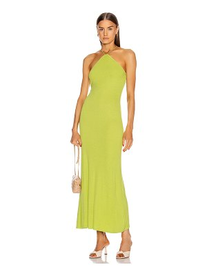 Enza Costa for fwrd silk rib halter fitted ankle dress