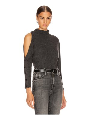 Enza Costa rib long sleeve high neck exposed shoulder top