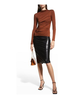 Enza Costa Ruched-Front Long-Sleeve Jersey Top
