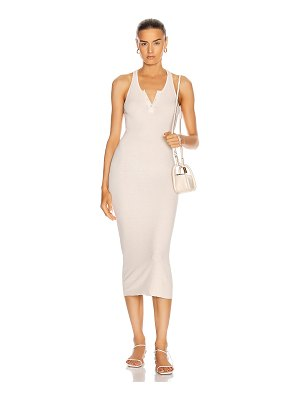 Enza Costa silk rib henley tank midi dress