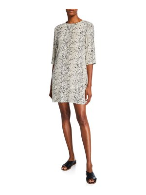 Equipment Aubrey Python Half-Sleeve Mini Silk Dress