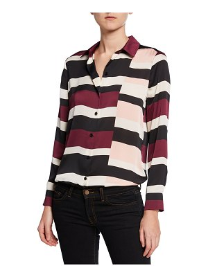 Equipment Essential Block-Stripe Button-Down Shirt