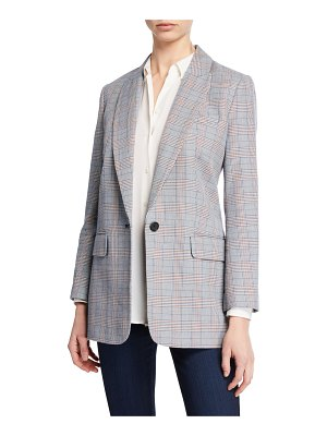 Equipment Jeanne One-Button Checkered Blazer