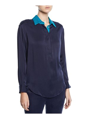 Equipment Margery Long-Sleeve Blouse with Contrast Collar