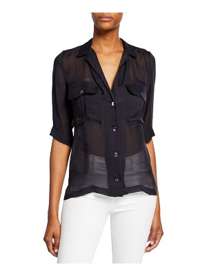 Equipment Parnella Short-Sleeve Button-Front Silk Shirt