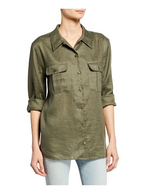 Equipment Videlle Button-Front Linen Top