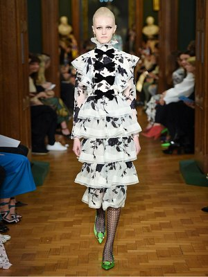 Erdem alcina tiered floral embroidery silk organza dress