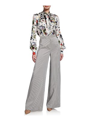Erdem Birte High-Waist Floral Jersey Full-Leg Pants
