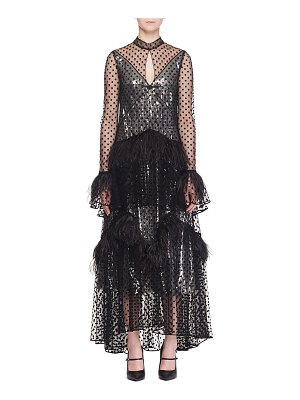 Erdem Bronte Long-Sleeve Tiered Skirt Dotted Sheer Evening Gown w/ Feathers