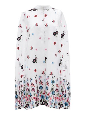 Erdem caelyn cape-back floral-embroidered organza dress