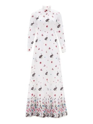 Erdem clementine floral-embroidered organza gown