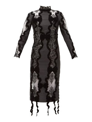 Erdem deletta lace insert velvet and sequin fitted dress