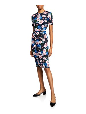 Erdem Essie Short-Sleeve Round-Neck Cut-Waist Dress