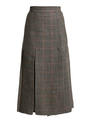 Erdem Ifannia Houndstooth Wool Blend Pleated Skirt