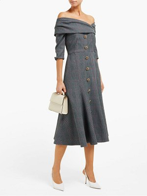 Erdem iman off the shoulder plaid twill midi dress