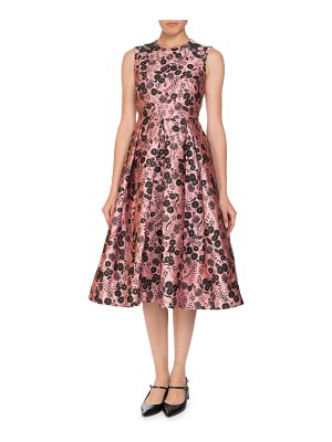 Erdem Indra Fit-and-Flare Floral Jacquard Sleeveless Dress