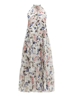 Erdem julianne apsley floral print silk voile midi dress