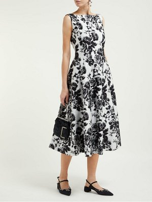 Erdem kinsey rosechine jacquard cotton blend midi dress